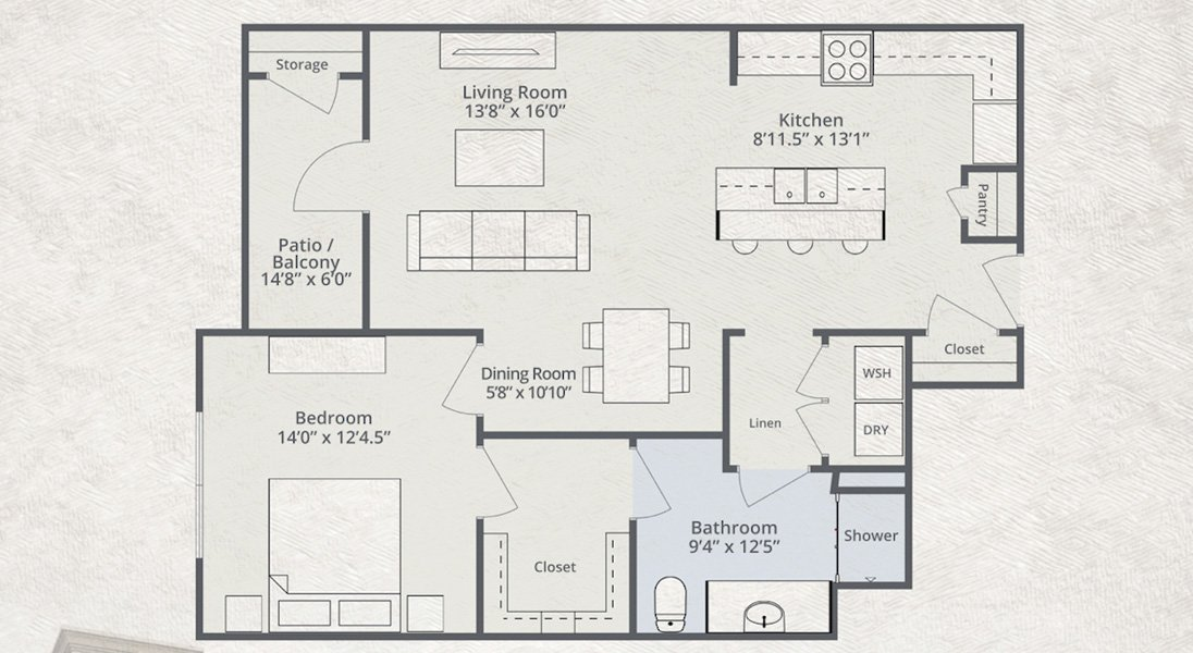 920 sq. ft. to 923 sq. ft. United floor plan