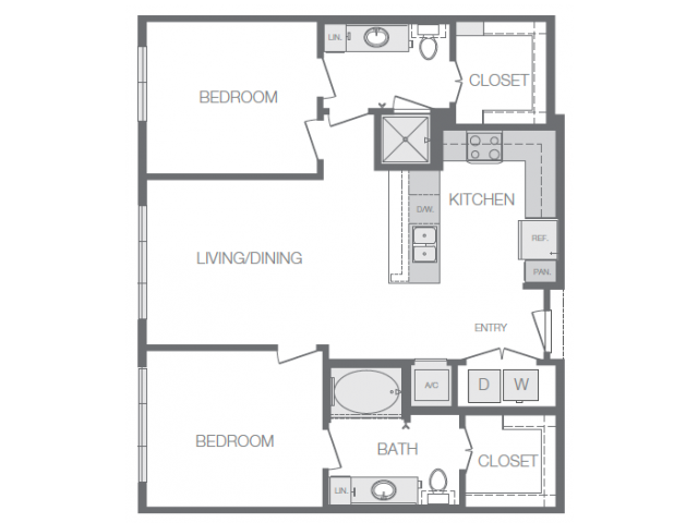 1,008 sq. ft. to 1,028 sq. ft. B1 floor plan