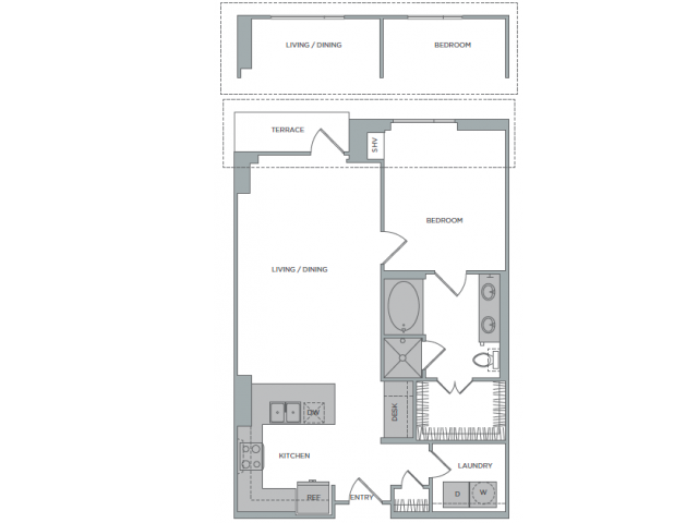 925 sq. ft. 1P floor plan