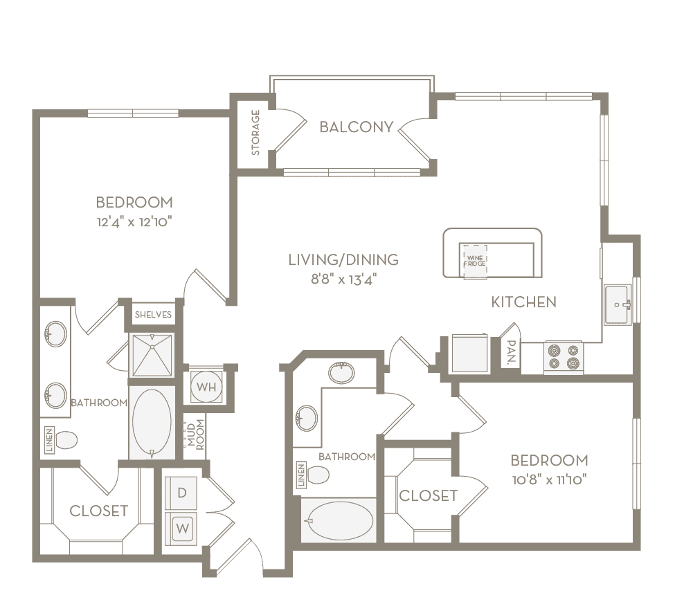 1,141 sq. ft. B2 floor plan