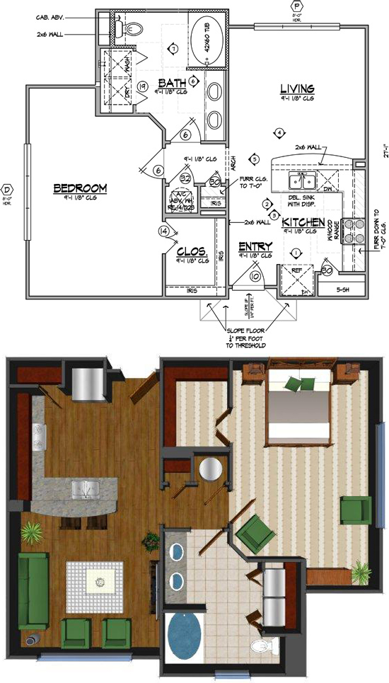 797 sq. ft. Cd floor plan