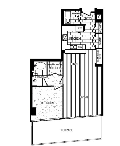 1,253 sq. ft. D floor plan