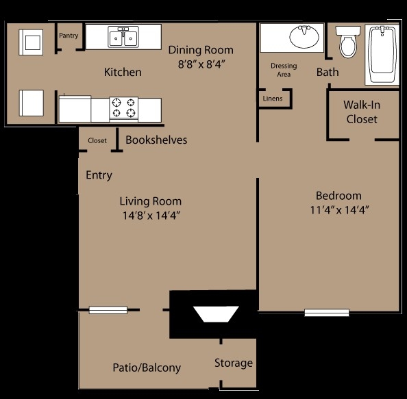 667 sq. ft. A2 floor plan
