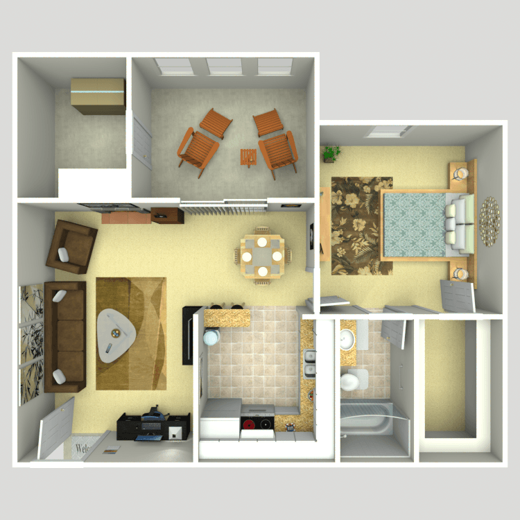 745 sq. ft. 1C floor plan