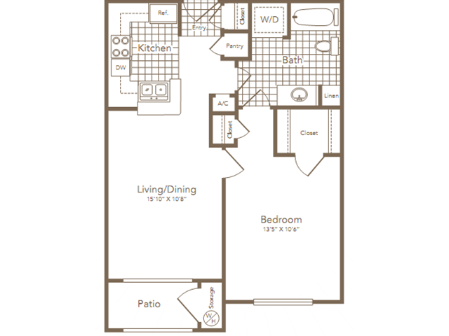 625 sq. ft. ALLEN floor plan