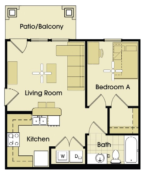 537 sq. ft. to 553 sq. ft. floor plan
