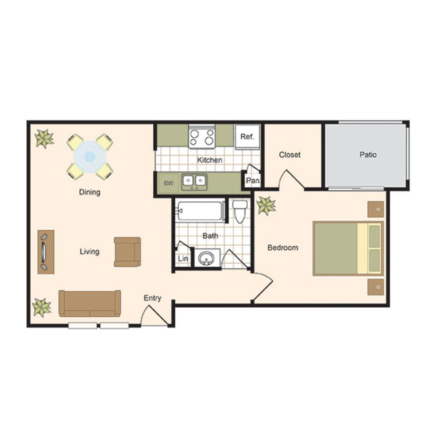 770 sq. ft. A5 floor plan