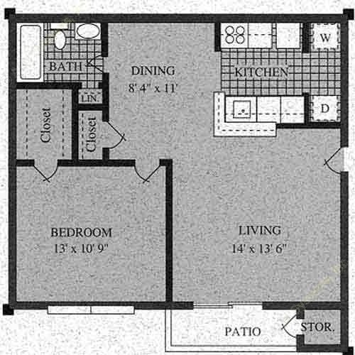 587 sq. ft. D-60% floor plan