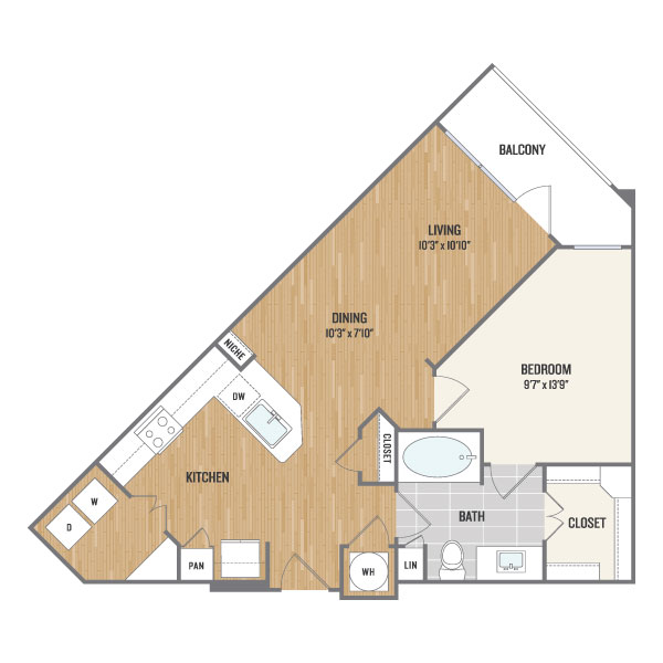 735 sq. ft. A6 floor plan