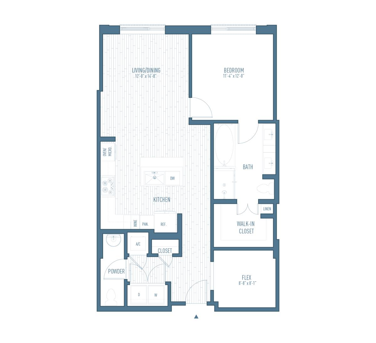 1,002 sq. ft. A14/Flex floor plan