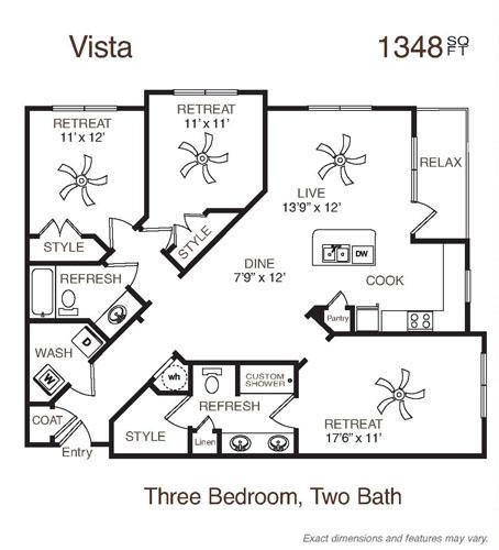 1,348 sq. ft. Vista floor plan