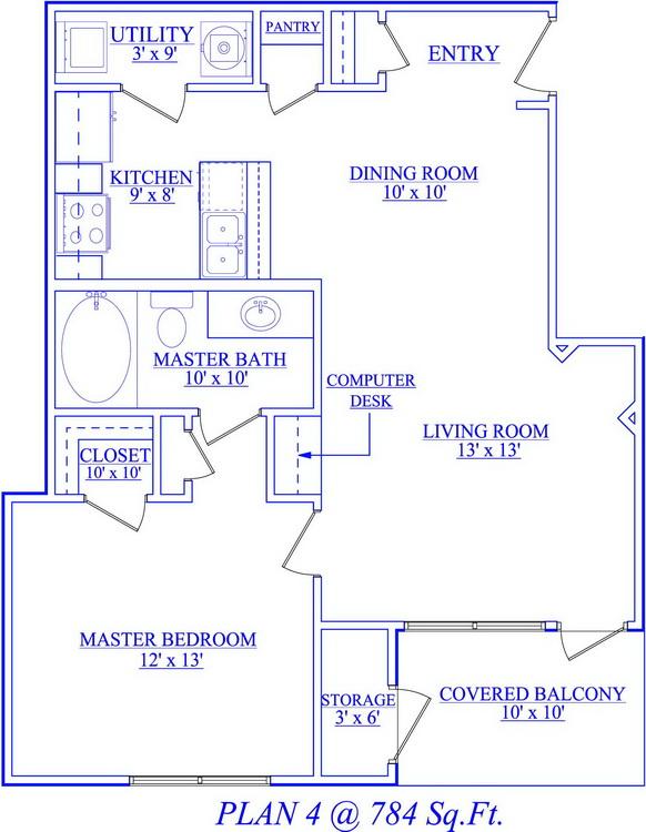 784 sq. ft. floor plan