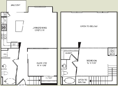 905 sq. ft. B1L floor plan