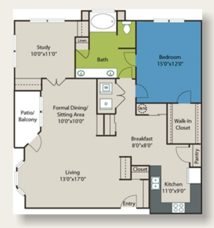 1,189 sq. ft. D1 floor plan