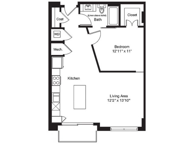 785 sq. ft. TD floor plan