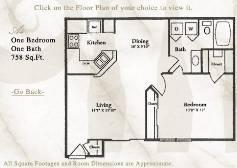 758 sq. ft. A4 floor plan