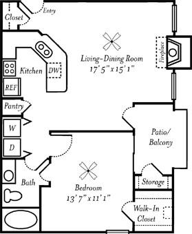716 sq. ft. Cabernet floor plan