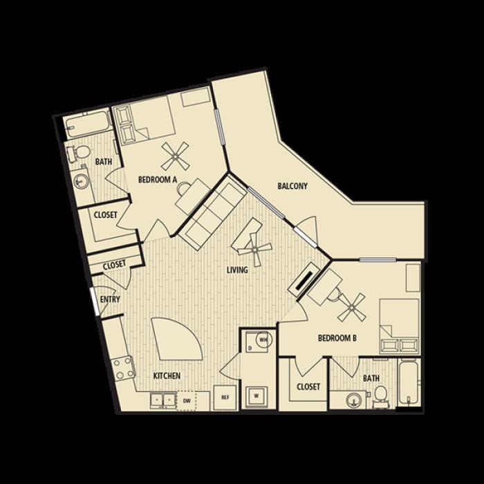 1,019 sq. ft. B3 floor plan