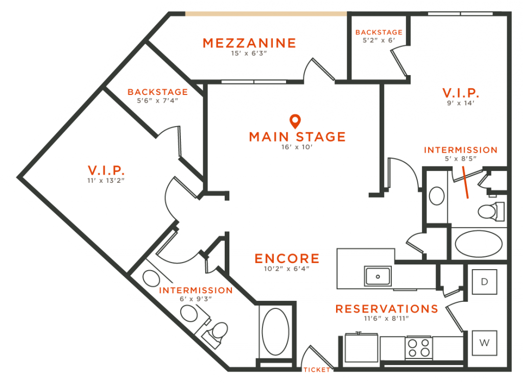 1,118 sq. ft. B5 floor plan