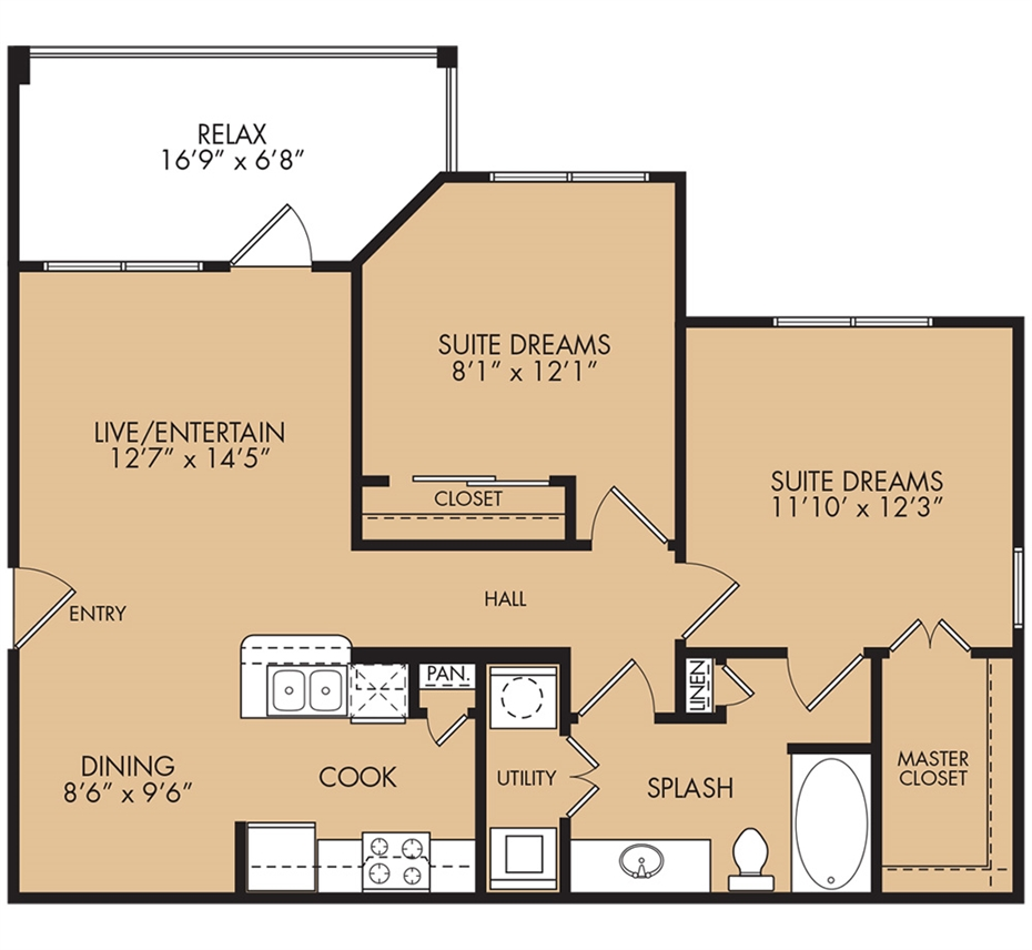 919 sq. ft. Heron floor plan