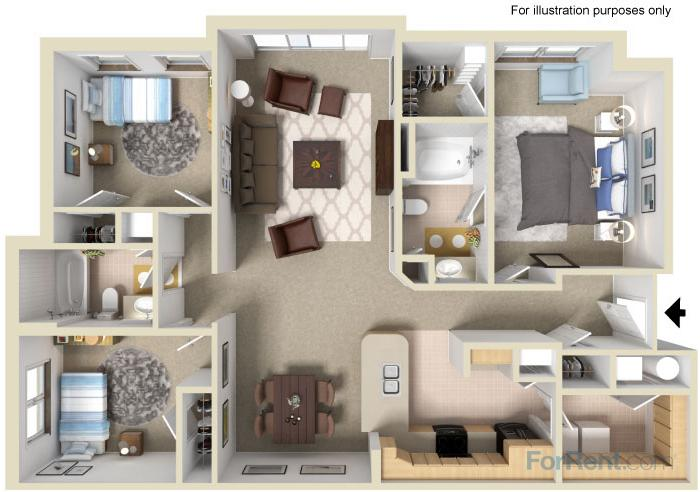 1,264 sq. ft. 60% floor plan