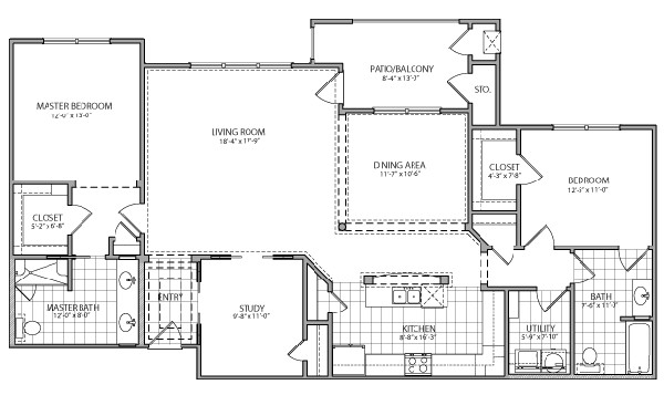 1,650 sq. ft. Roma Indep. floor plan