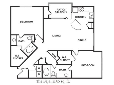 1,150 sq. ft. Baja floor plan