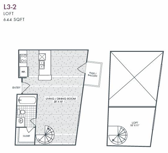 644 sq. ft. L3-2 floor plan