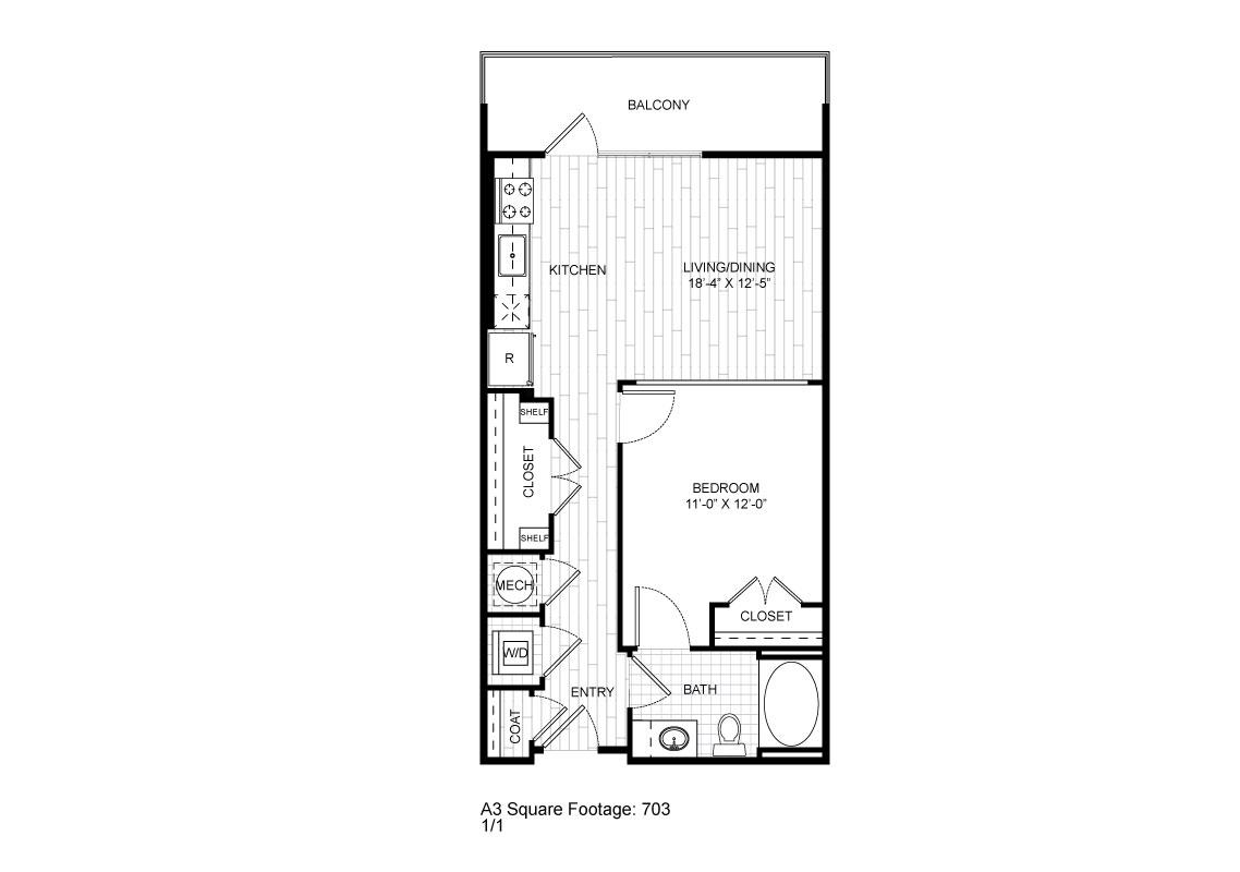 643 sq. ft. A3 floor plan