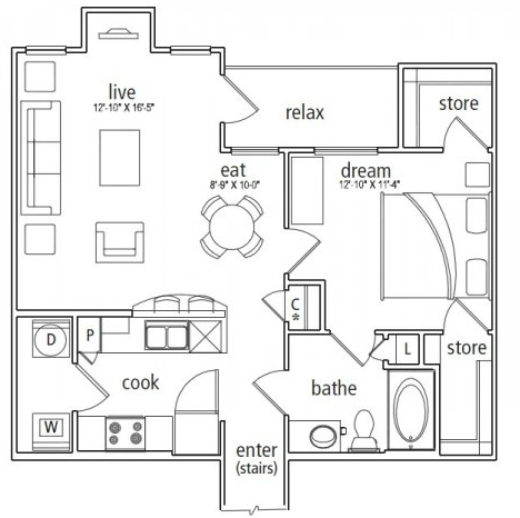 865 sq. ft. Lucerne floor plan