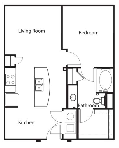 702 sq. ft. A3 floor plan