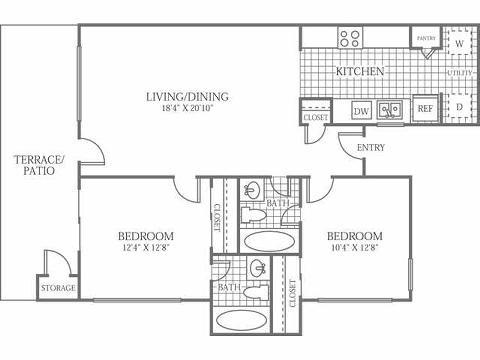821 sq. ft. C floor plan