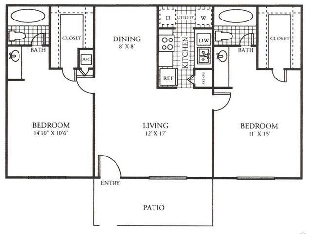 978 sq. ft. D floor plan