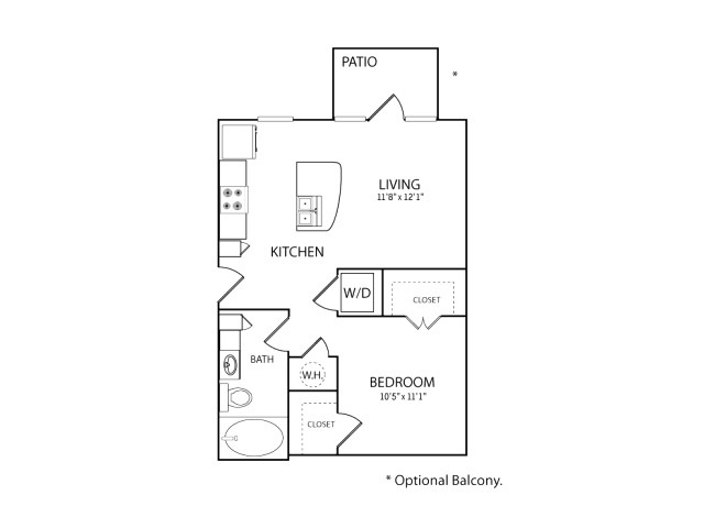 588 sq. ft. S1 floor plan