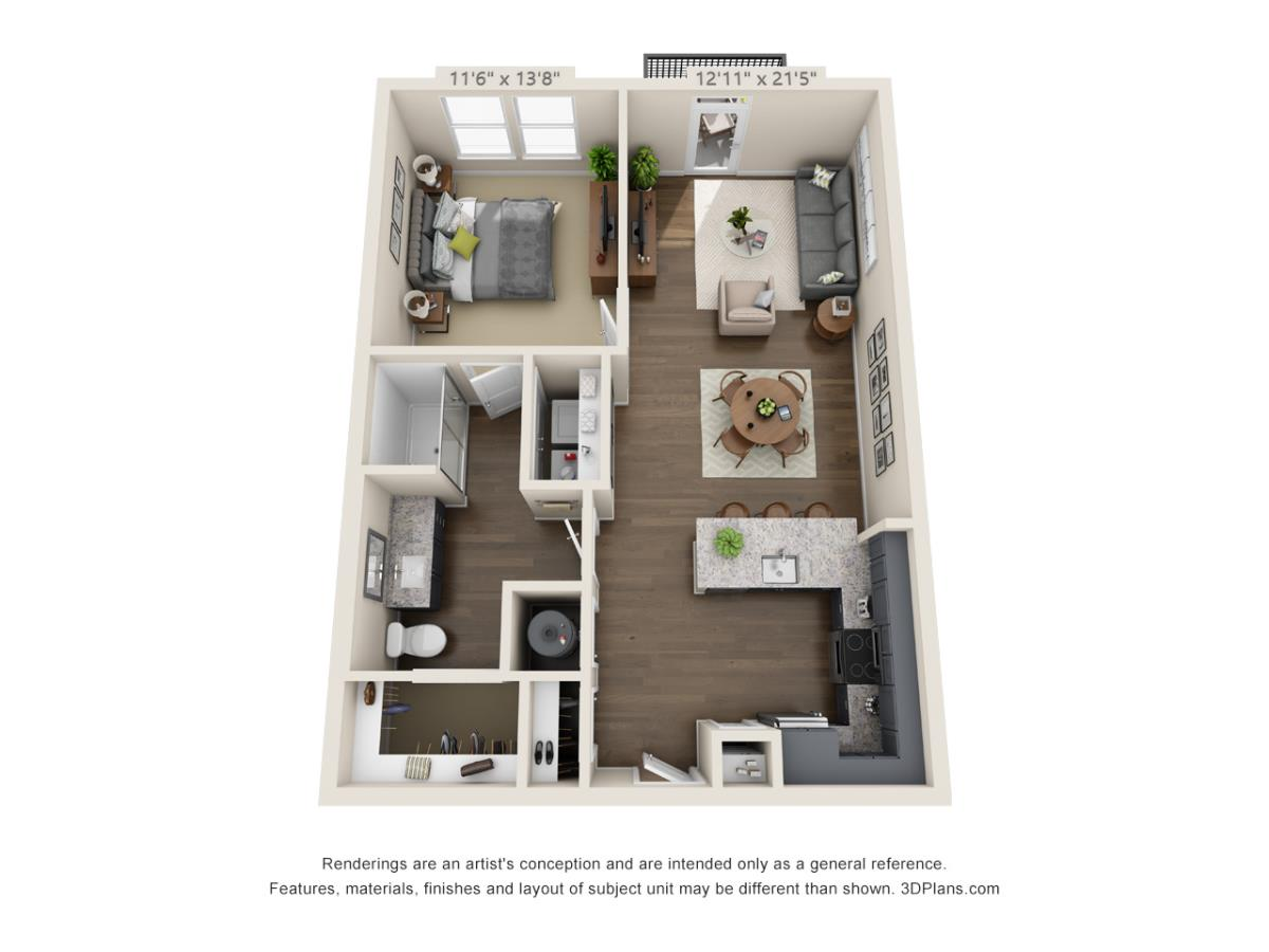 800 sq. ft. A4B floor plan