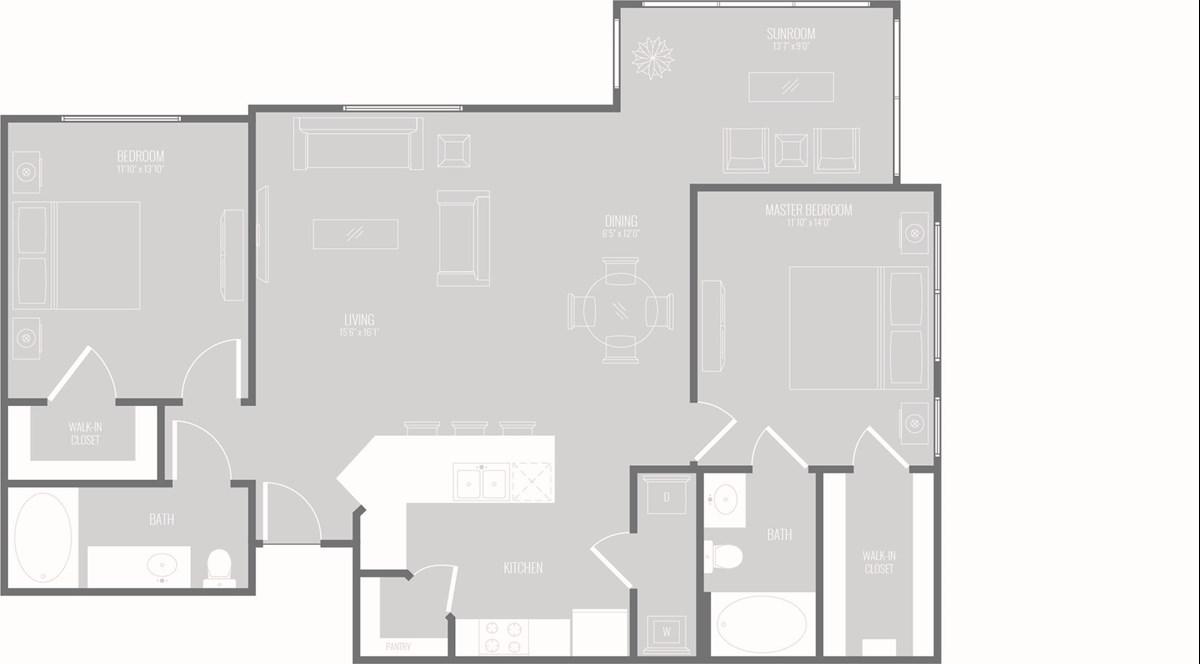 1,279 sq. ft. Linger floor plan