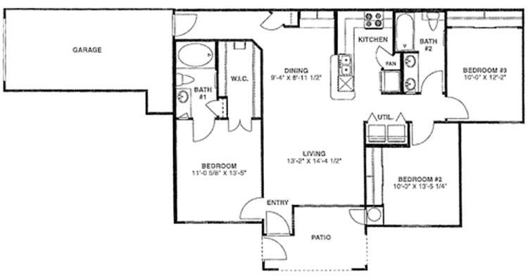 1,182 sq. ft. F/60% floor plan