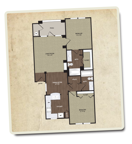 1,030 sq. ft. Chisholm floor plan