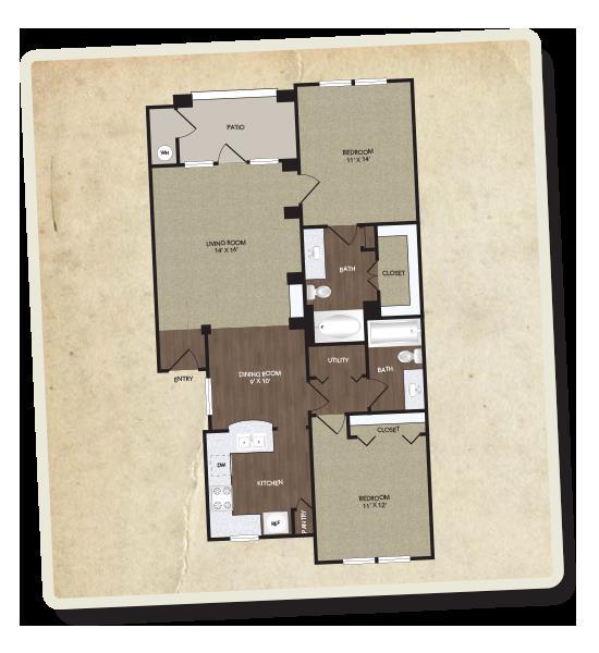 1,030 sq. ft. Chisholm floor plan