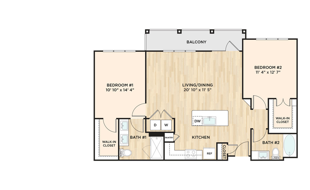 1,131 sq. ft. to 1,143 sq. ft. B2 floor plan