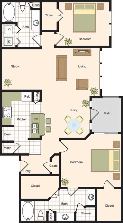1,405 sq. ft. B3 floor plan