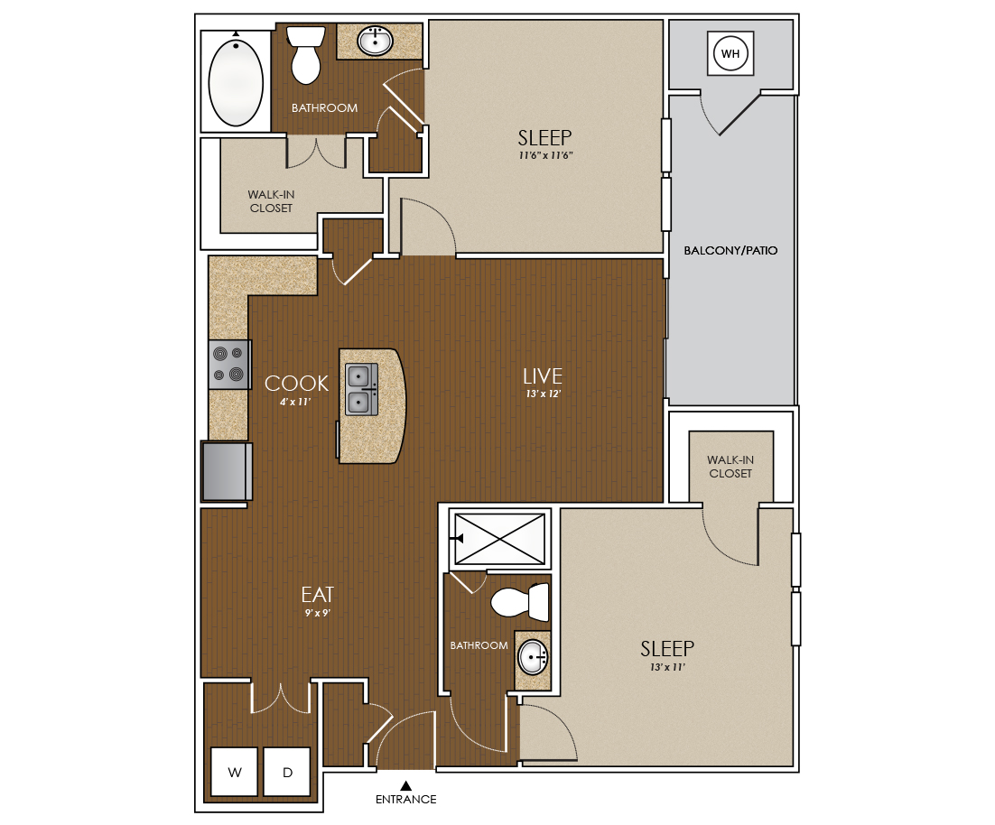 1,035 sq. ft. Sage floor plan