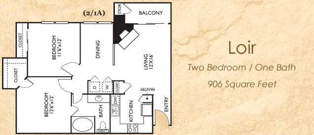 906 sq. ft. Loir floor plan