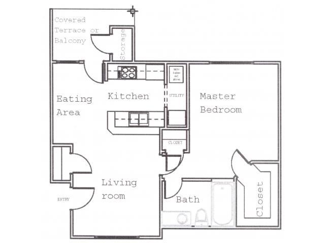 664 sq. ft. A2 floor plan