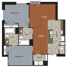 1,238 sq. ft. B1 floor plan