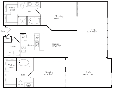 1,661 sq. ft. S floor plan