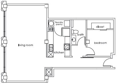 1,007 sq. ft. GS Plan B floor plan