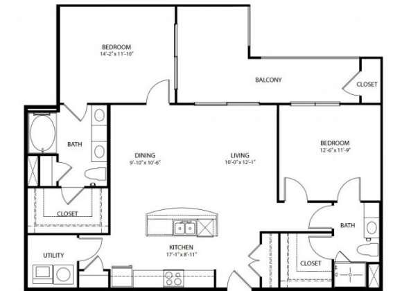 1,215 sq. ft. B4 PH3 floor plan