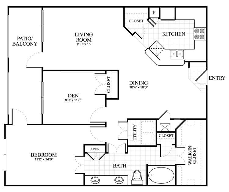 1,130 sq. ft. Abberley floor plan