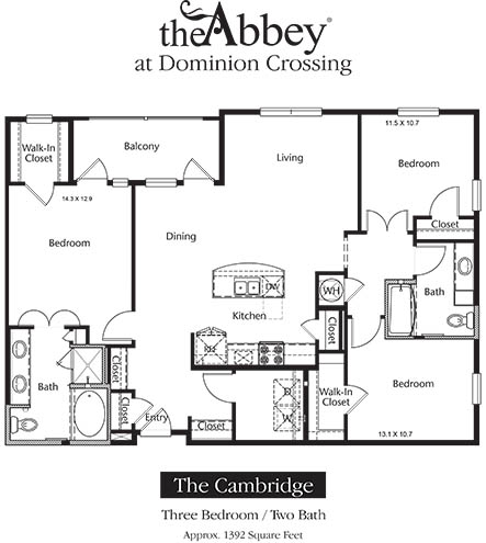 1,392 sq. ft. Cambridge floor plan
